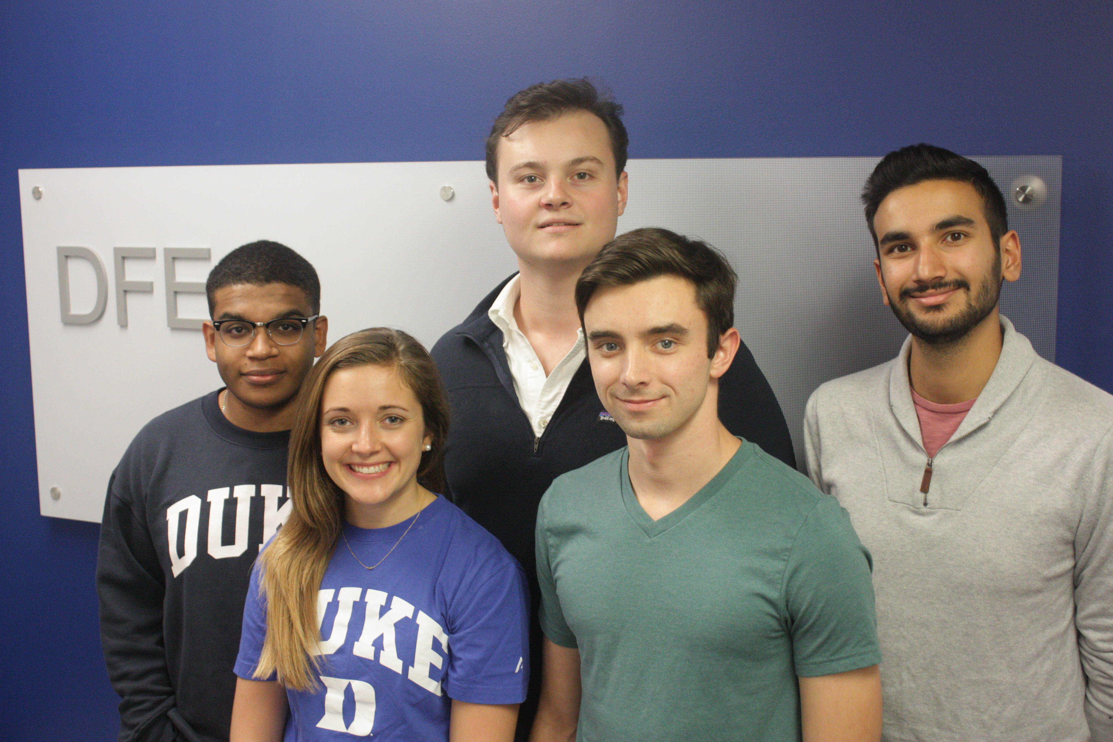 DFE Student Advisory Committee 2018-19: from left, Karl Harrison, Abby Sparrow, Tassilo Corsi, Nick Hibshman, Karam Katariya
